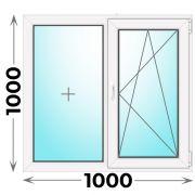 Готовое пластиковое окно двухстворчатое 1000x1000 (Novotex)
