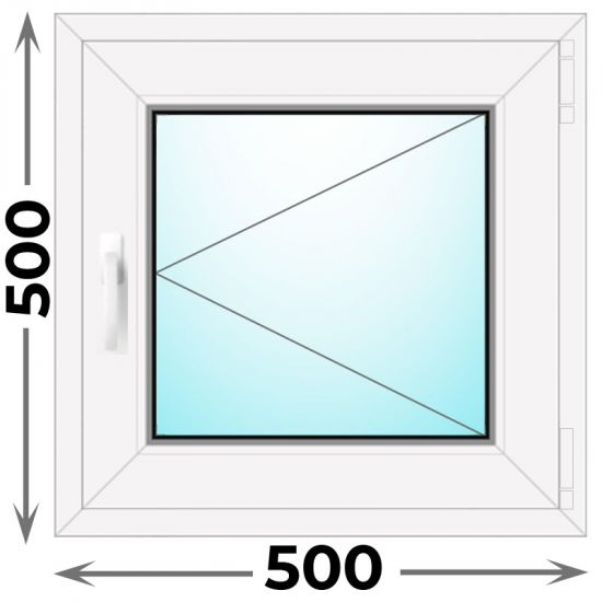 Готовое пластиковое окно одностворчатое 500x500 (REHAU)