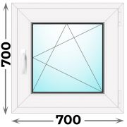 Готовое пластиковое окно одностворчатое 700x700 (Novotex)