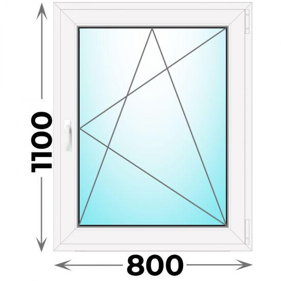 Готовое пластиковое окно одностворчатое 800x1100 (Novotex)