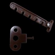 Фиксатор створки металлический коричневый (Гребенка)